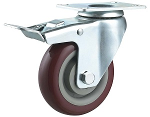 Medium Duty PU Caster Swivel Plate with Brake